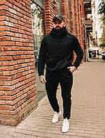 Теплый мужской спортивный костюм на флисе черный