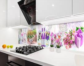 Виниловая наклейка на кухонный фартук вино с цветами, виноградником,, с защитной ламинацией, 60 х 200 см., фото 2