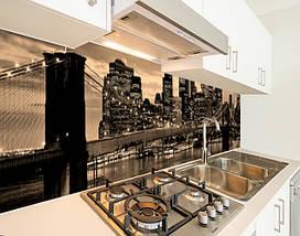 Кухонный фартук на виниловой пленке бруклинский мост в лучах огней, с защитной ламинацией, 60 х 200 см., фото 2