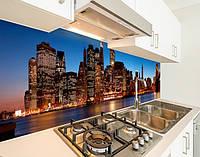 Кухонный фартук на виниловой пленке вечерний город, с защитной ламинацией, 60 х 200 см.