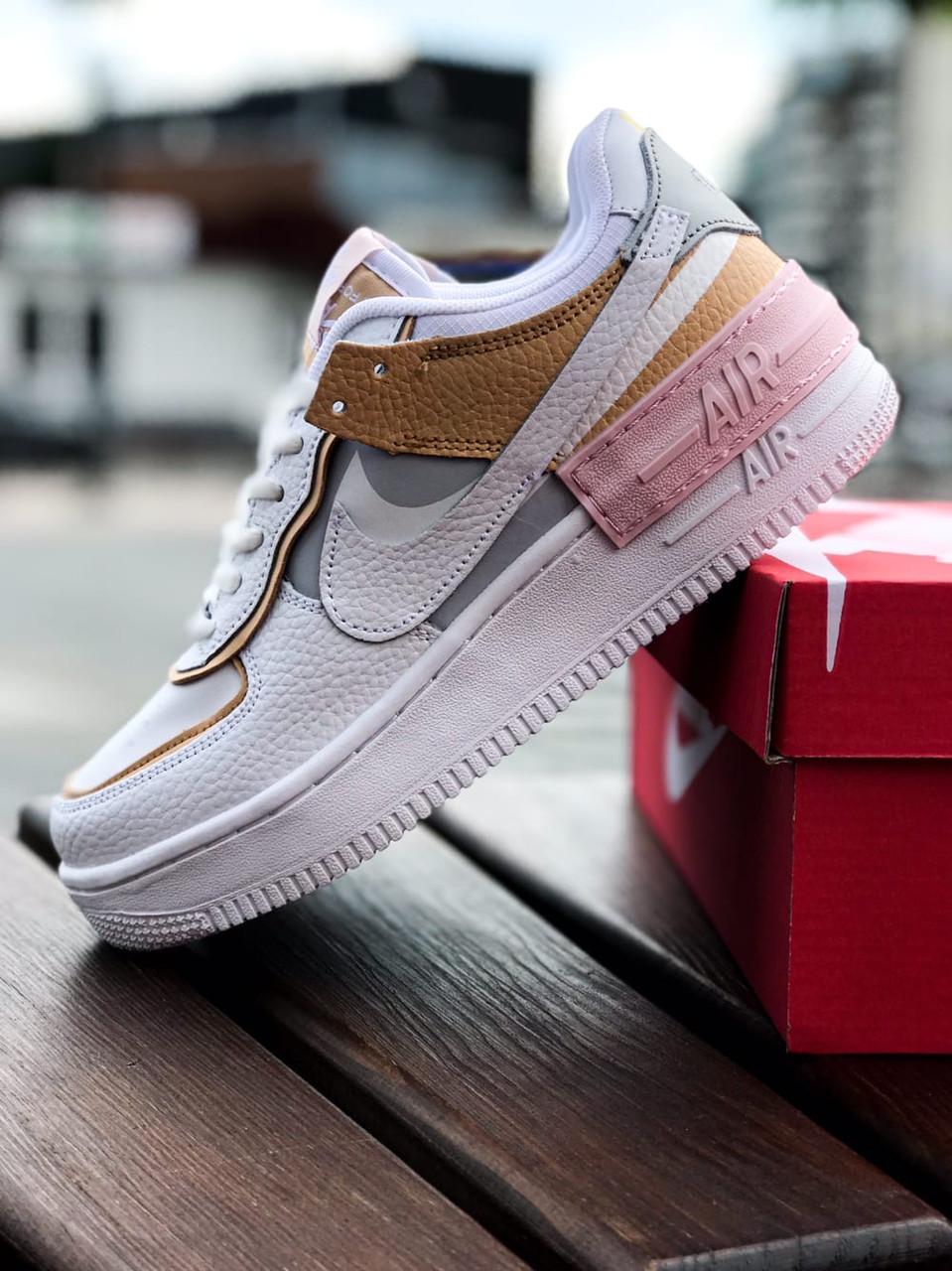 Кроссовки женские Nike Air force shadow White Grey Brown 40, разм