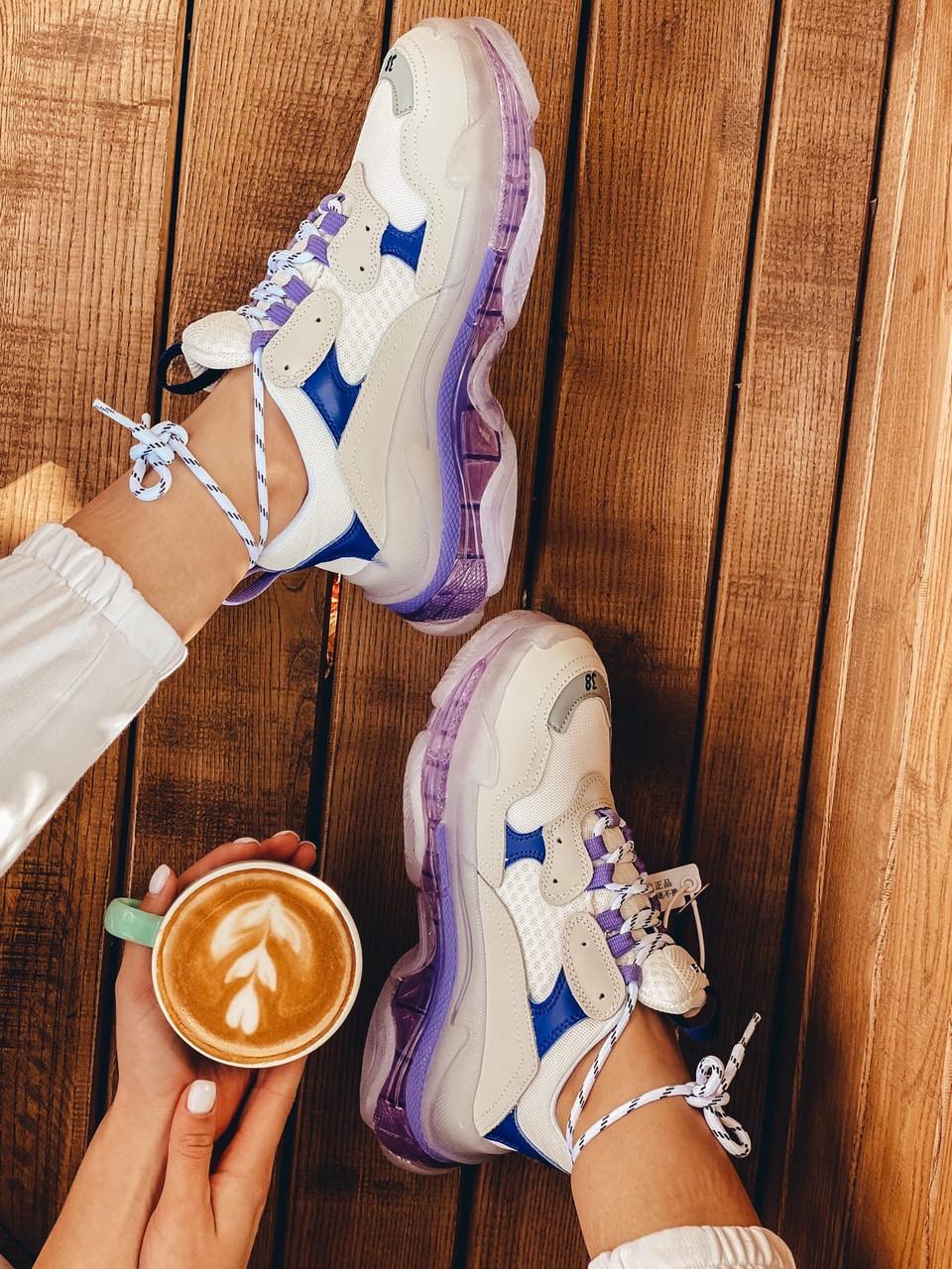 Кроссовки женские Balenciaga Triple S white purple бело-фиолетовые 39 разм