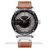 Оригинальные мужские часы кожанный ремешок  Curren 8374 Brown-Silver-Black / Часы курен оригинал, фото 2