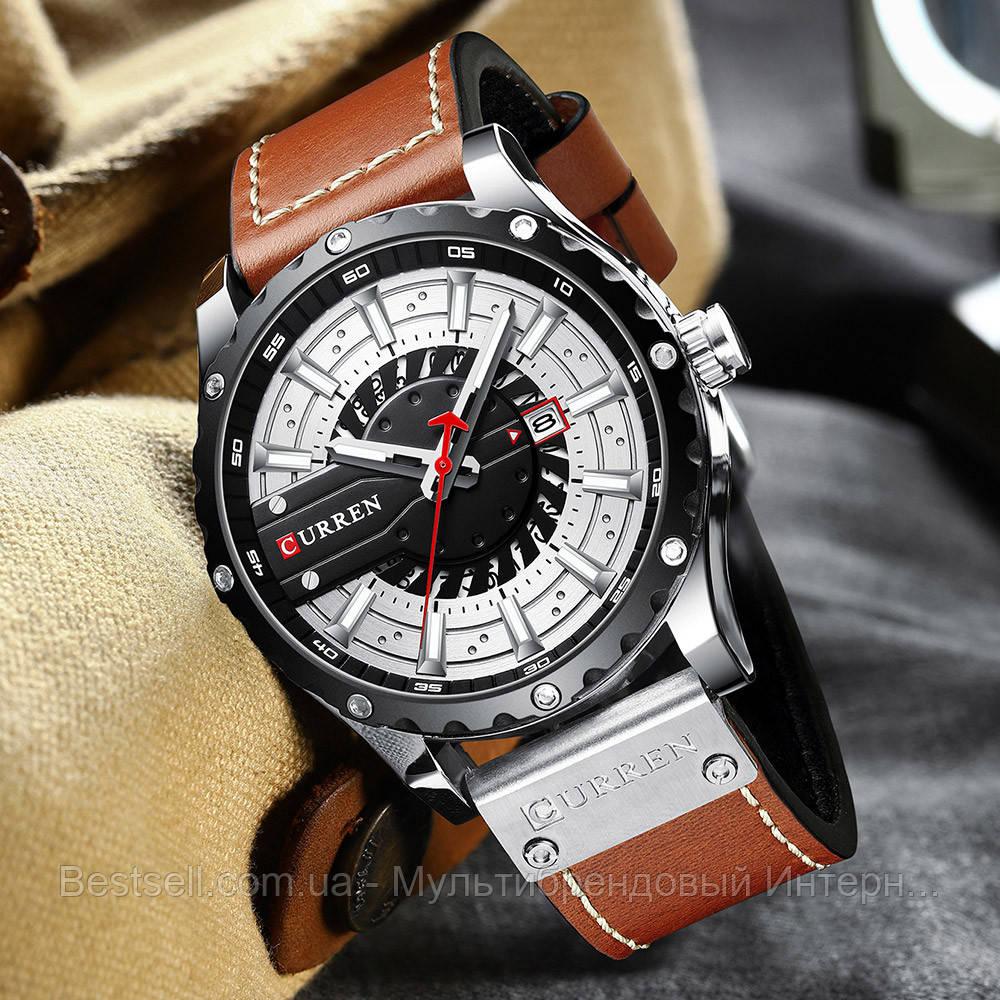 Оригинальные мужские часы кожанный ремешок  Curren 8374 Brown-Silver-Black / Часы курен оригинал