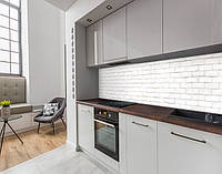 Виниловая наклейка на кухонный фартук стена кирпичная белая, с защитной ламинацией, 60 х 200 см.