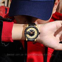 Оригинальные мужские часы кожанный ремешок Curren 8374 Black-Gold / Часы курен оригинал, фото 2