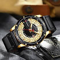 Оригинальные мужские часы кожанный ремешок Curren 8374 Black-Gold / Часы курен оригинал, фото 3