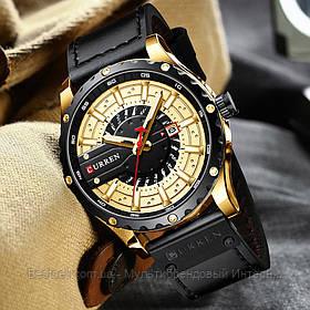 Оригинальные мужские часы кожанный ремешок Curren 8374 Black-Gold / Часы курен оригинал