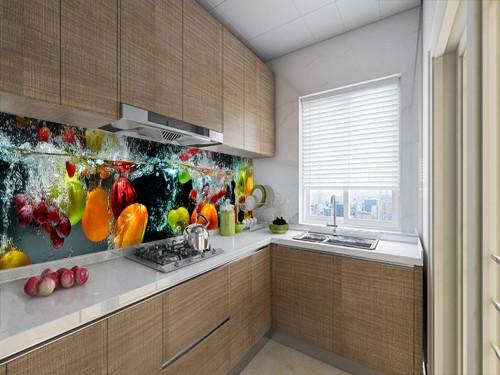 Виниловая наклейка на кухонный фартук овощи и фрукты в воде, с защитной ламинацией, 60 х 200 см.