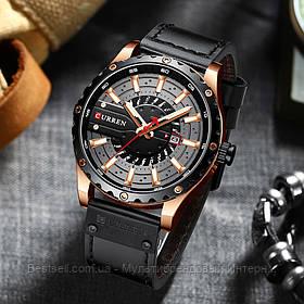 Оригинальные мужские часы кожанный ремешок  Curren 8374 Black-Cuprum / Часы курен оригинал