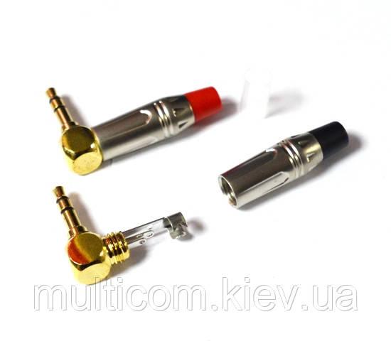 01-00-086BK. Штекер 3,5 стерео угловой, корпус металл, SoundProf Line, серебристый, черный хвостовик