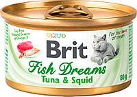 Brit Fish Dreams Tuna & Squid Влажный корм с тунцом и кальмаром для кошек 80 г