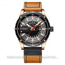 Оригинальные мужские часы кожанный ремешок Curren 8374 Brown-Cuprum-Black / Часы курен оригинал, фото 3