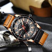 Оригинальные мужские часы кожанный ремешок Curren 8374 Brown-Cuprum-Black / Часы курен оригинал, фото 2