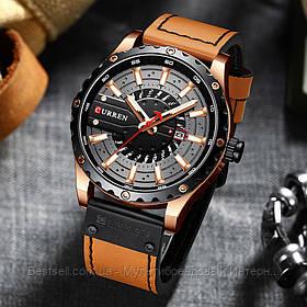 Оригинальные мужские часы кожанный ремешок Curren 8374 Brown-Cuprum-Black / Часы курен оригинал