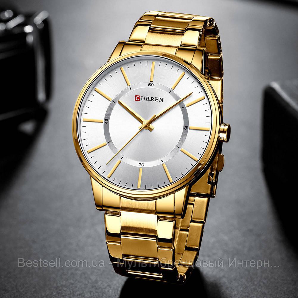 Оригинальные мужские часы стальной ремешок Curren 8385 Gold-White / Часы курен оригинал
