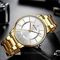 Оригинальные мужские часы стальной ремешок Curren 8385 Gold-White / Часы курен оригинал, фото 2