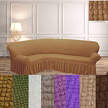 Натяжные чехлы на угловой диван накидка еврочехол Все цвета с оборкой Медовый жатка