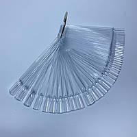 Палитра типсы квадратные на кольце для демонстрации гель-лаков 50 шт прозрачная Палитра для гель лака
