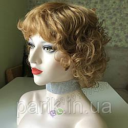 Женский кудрявый короткий парик из натуральных волос, золотистый 🧡