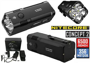 Мощный карманный фонарь NITECORE Concept 2 + 12400mAh (6500LM, Cree XHP35 HD, 4 LED, IP68, 18650*3100mAh*4)