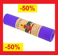 Коврик для фитнеса и йоги Йога коврик Коврик для спорта Йогомат TPE + TC 183 x 61 x 0,6 см Фиолетовый