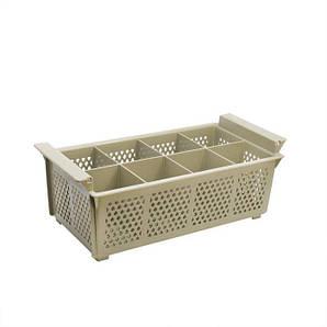 Корзина для посудомоечной машины для столовых приборов на 8 ячеек, цвет бежевый