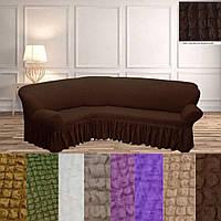 Накидка на угловой диван, натяжные чехлы на угловые диваны турецкий Коричневый жатка, фото 1