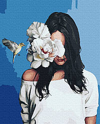 Картина по номерам Девушка с пионами 50х40см