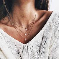 Женское многослойное колье ожерелье с кристаллами золотистого цвета