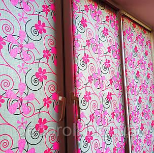 "Рулонная штора тканевая с рисунком ""Цветы 5236/3"" - цена от 0.5 кв.м"