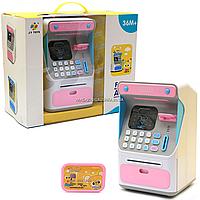 Игрушка копилка Банкомат, JY Toys, розовый, 16х14х26 см (7010A). Сейф с кодом