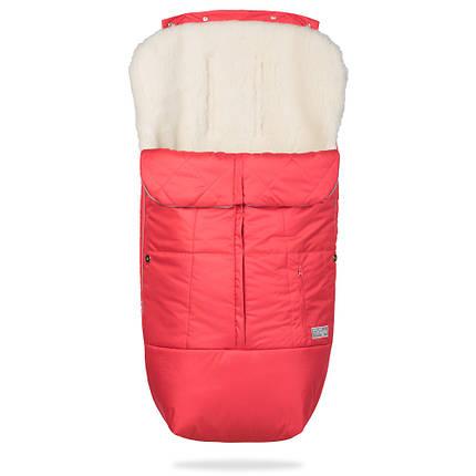 Зимний конверт в коляску на натуральной овчине, меховой чехол для коляски Trend красный, фото 2