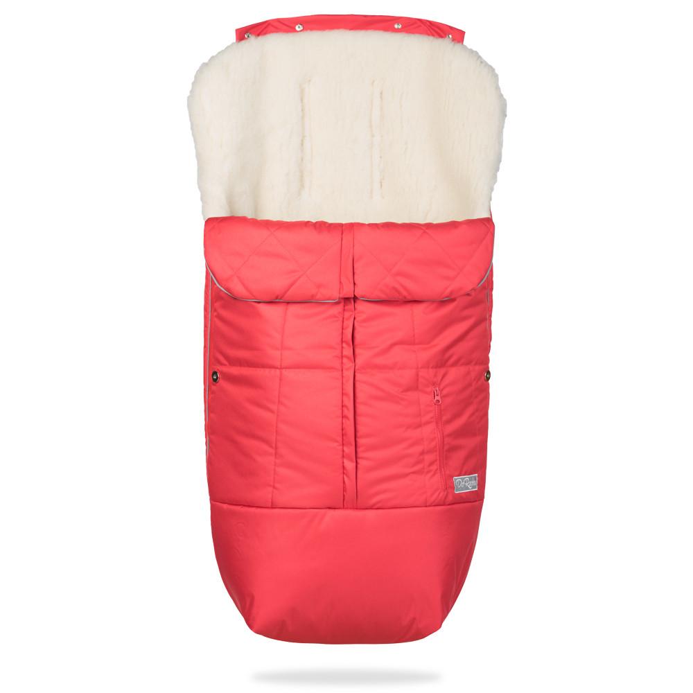 Зимний конверт в коляску на натуральной овчине, меховой чехол для коляски Trend красный