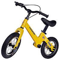 """Беговел Maraton Prime магниевая рама, ручной тормоз, надувные колеса 12"""" желтый"""