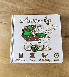 Деревянный детский фотоальбом для девочки с метрикой Анютка (имя может быть любое)