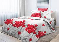 Комплект постельного белья подросток Воздушные шары Сердце (поплин)