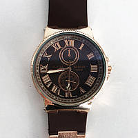 Часы наручные Ulysse Nardin Brown ремешок коричневый (реплика). Цвет: коричневый ремень, темный циф.