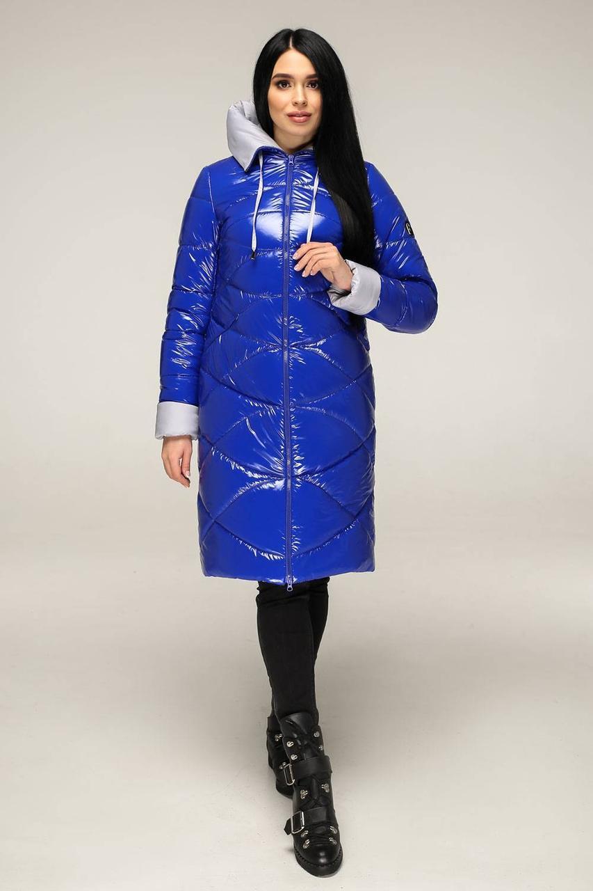 Лакированная куртка цвета электрик