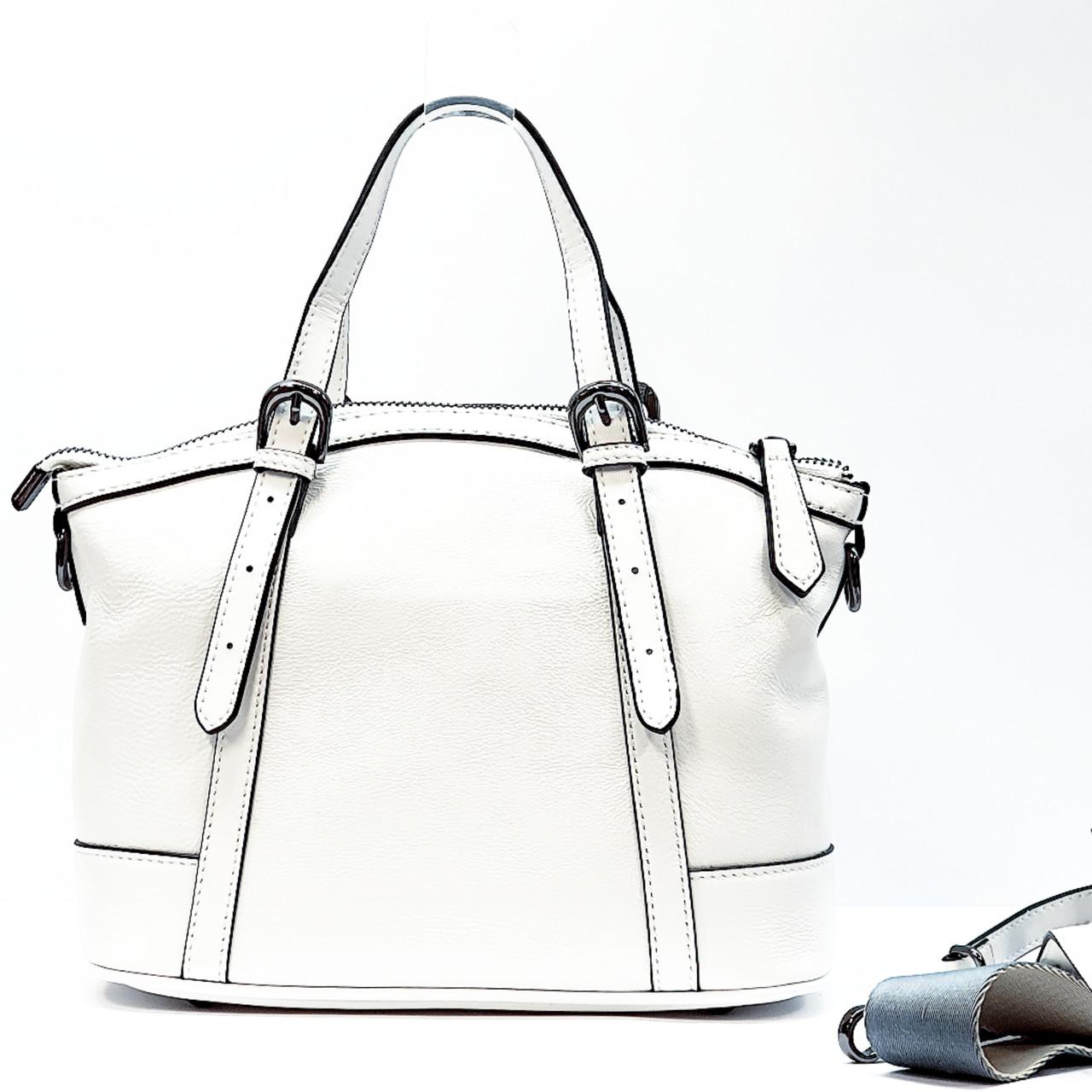 Женская сумка белая средняя повседневная натуральная кожа
