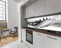 Кухонный фартук на виниловой пленке зеркальные шары на волнах, с защитной ламинацией, 60 х 200 см.