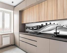Кухонный фартук на виниловой пленке зеркальные шары на волнах, с защитной ламинацией, 60 х 200 см., фото 2