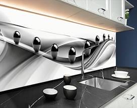 Кухонный фартук на виниловой пленке зеркальные шары на волнах, с защитной ламинацией, 60 х 200 см., фото 3