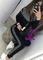 Женский спортивный костюм на молнии. Размер: 42-44, 46-48, 50-52. Цвета : чёрный с серым и персик с серым.