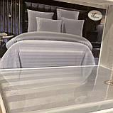Постільна білизна страйп-сатин   Євро комплект з простирадло на гумці 180*200+25см Тканина - Бавовна, фото 2