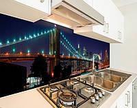 Кухонный фартук на виниловой пленке мост бруклинский вечером, с защитной ламинацией, 60 х 200 см.