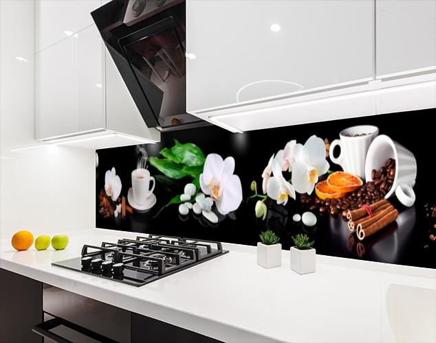Наклейка на кухонный фартук орхидеи и кофе, с защитной ламинацией, 60 х 200 см.