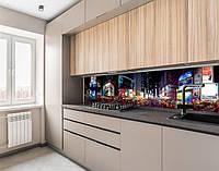 Кухонный фартук на виниловой пленке ночные улицы мегаполиса, с защитной ламинацией, 60 х 200 см.