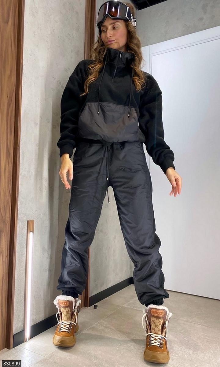 Спортивний костюм плащівка фліс чорний Осінь Україна 46-50 великого розміру 830899