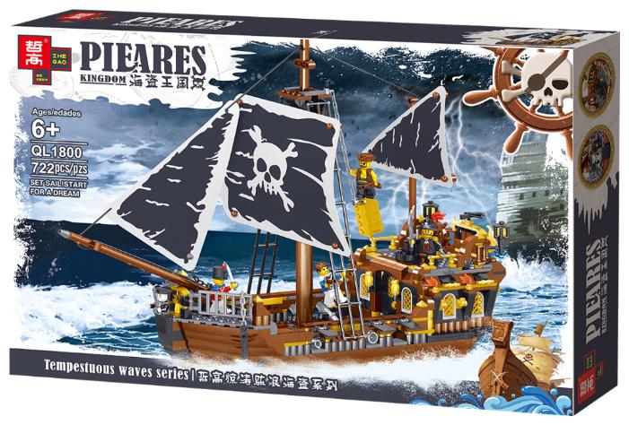 """Конструктор Zhe Gao Pieares Kingdom QL1800 """"Пиратский корабль Бог ветра"""" 722 деталей."""